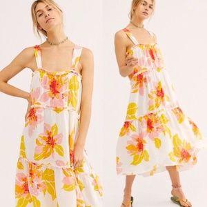 NWT Free People Moonshine Midi Dress Floral Boho